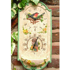 Clock Thermometer With Birdfeeder