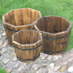 FSC Wooden Octagonal Planters Set of 3