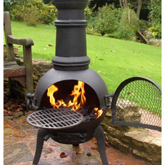 Small Chimenea and BBQ Grill