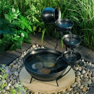 Pewter Embossed Cascade Solar Water Feature