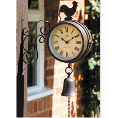 Cockerel Design Clock and Thermometer