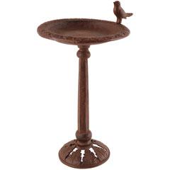 Cast Iron Bird Bath On Pole With Single Bird