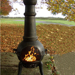 Large Bronze Chimenea and BBQ Grill
