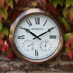 Copper Finish Garden Clock and Thermometer