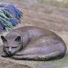 Bronze sleeping cat