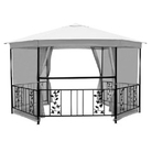 Majestic Steel Gazebo with Glass Drinks Shelf