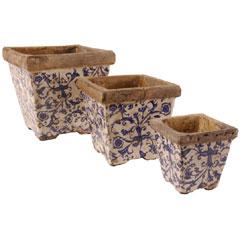 Aged Ceramic Flower Pot Set Of 3