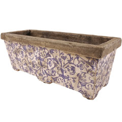 Aged Ceramic Trough Planter