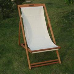 Greenfingers Hardwood Textilene Deck Chair - White