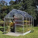 Aluminium Framed Polycarbonate Greenhouse & Base 8ft5 x6ft4