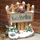 Santa Stop Here Sign with Solar Light