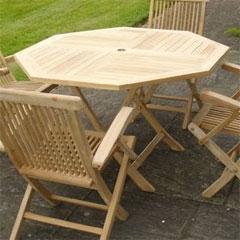 Octagonal Folding Teak Table 110cm