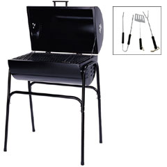 Steel Oil Drum BBQ with 3 Piece Tool Kit