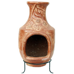 Clay BBQ Chiminea - Grapes Design