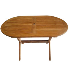 Teak 135cm Oval Folding Table