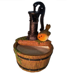 Resin Water Barrel with Robin
